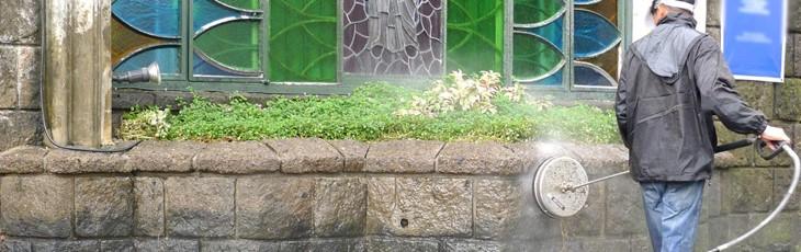 Hetvattentvätt av fasad och sten